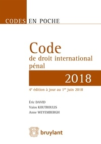 Code de droit international pénal - Eric David pdf epub