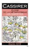 Ernst Cassirer - ELOGE DE LA METAPHYSIQUE. - Axel Hägerström, une étude de la philosophie suédoise contemporaine.