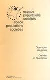 Claire Hancock - Espace Populations Sociétés N° 2002-3 : Questions de genre - Gender in Questions.