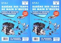 ETAI - Barème des temps de main d'oeuvre - Temps d'origine constructeur, 2 volumes.