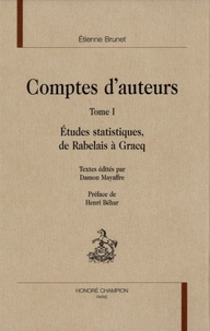 Etienne Brunet - Comptes d'auteurs - Tome 1, Etudes statistiques, de Rabelais à Gracq. 1 DVD