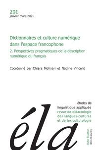 Chiara Molinari - Études de linguistique appliquée - N°1/2021 - Dictionnaires et culture numérique dans l'espace francophone (2).