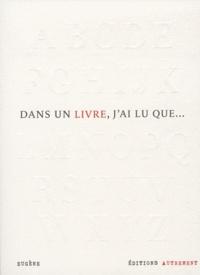 Eugène - Dans un livre, j'ai lu que....