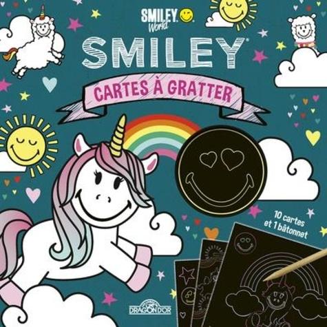 Cartes à gratter Smiley Lamas & licornes. Avec 1 bâtonnet
