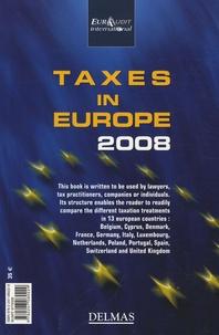 Deedr.fr Les impôts en Europe - Taxes in Europe 2008, Edition bilingue français-anglais Image