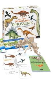 Eve Herrmann et Roberta Rocchi - Mon coffret Montessori Dinosaures - Avec 1 squelette en bois à assembler, 1 grande frise, 60 cartes classifiées, 20 grandes fiches et 1 livret.
