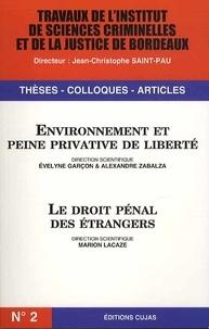 Evelyne Garçon et Alexandre Zabalza - Environnement et peine privative de liberté ; Le droit pénal des étrangers.