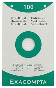 EXACOMPTA - Fiches Bristol perforées - 125x200mm petits carreaux