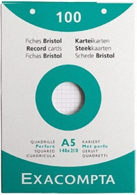 EXACOMPTA - Fiches Bristol perforées - 148x210mm petits carreaux