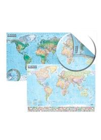 Histoiresdenlire.be Carte du monde politique et physique - Carte murale, double face, laminée avec barres, 1/21 500 000 Image