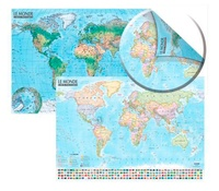 Express Map - Carte du monde : politique et physique - Avec barres.