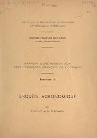 F. Cohic et G. Tercinier - Rapport d'une mission aux établissements français de l'Océanie (2). Enquête agronomique.