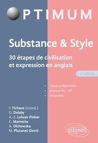 Fabien Fichaux et Guillaume Delaby - Substance & style - 30 étapes de civilisation et expression en anglais.