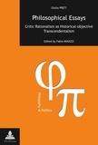 Fabio Minazzi - Philosophical Essays - Critic Rationalism as Historical-objective Transcendentalism- Edited by Fabio Minazzi- Translation from Italian by Richard Sadleir.