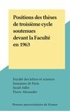 Faculté des Lettres et Science et Israël Adler - Positions des thèses de troisième cycle soutenues devant la Faculté en 1963.