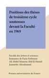 Faculté des Lettres et Science et Ali Abdel Moneim Abd El Hamid - Positions des thèses de troisième cycle soutenues devant la Faculté en 1969.