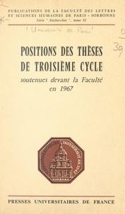 Faculté des Lettres et Science et Mahmoud Abdelmoula - Positions des thèses de troisième cycle - Soutenues devant la faculté en 1967.