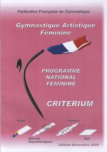 Fédération Française de Gym - Programme national féminin critérium - Gymnastique artistique féminine.