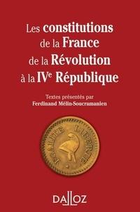 Ferdinand Mélin-Soucramanien - Les constitutions de la France de la Révolution à la IVe République.