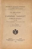 Fernand Benoit - La légation du cardinal Sadolet auprès de François Ier en 1542.