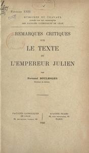 Fernand Boulenger - Remarques critiques sur le texte de l'empereur Julien.
