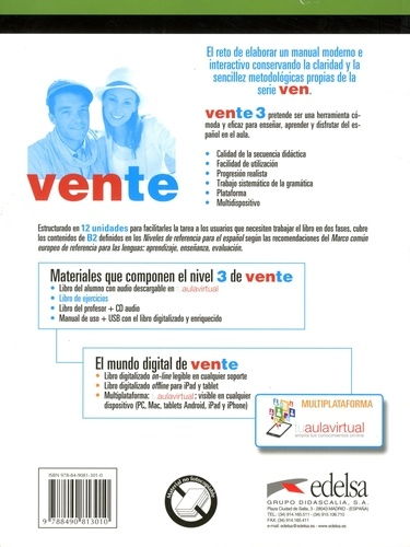 Vente 3, Curso de espanol lengua extranjera. Libro de ejercicios