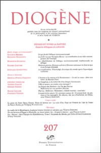 Augustin Berque et Thierry Zarcone - Diogène N° 207, Juillet-Sept : Penser et vivre la nature - Aspects éthiques et culturels.