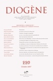 Maurice Aymard et Luca Maria Scarantino - Diogène N° 220, Octobre-Déce : Réinventer la démocratie ?: Diversité culturelle et cohésion sociale.
