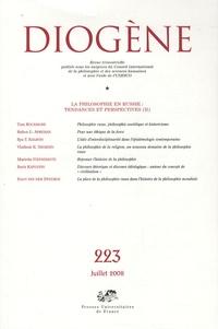 Maurice Aymard et Luca Maria Scarantino - Diogène N° 223, Juillet-Sept : La philosophie en Russie Tendances et perspectives (2).