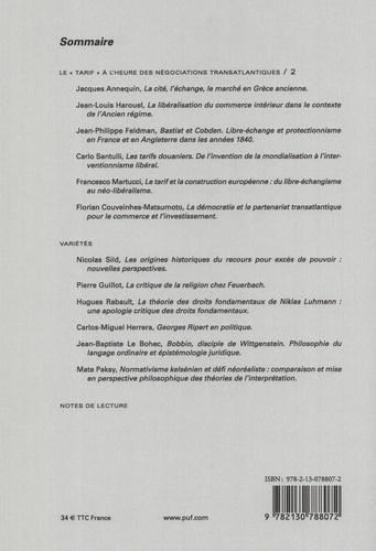 """Droits N° 65/2017 Le """"tarif"""" à l'heure des négociations transatlantiques. Tome 2"""