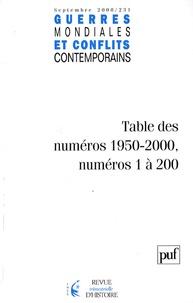 Jean-Claude Allain - Guerres mondiales et conflits contemporains N° 231, septembre 20 : Tables des numéros 1950-2000, numéros 1 à 200.