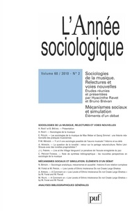 Bernard Valade et Hyacinthe Ravet - L'Année sociologique N° 60, 2010 : Sociologies de la musique - Tome 2.