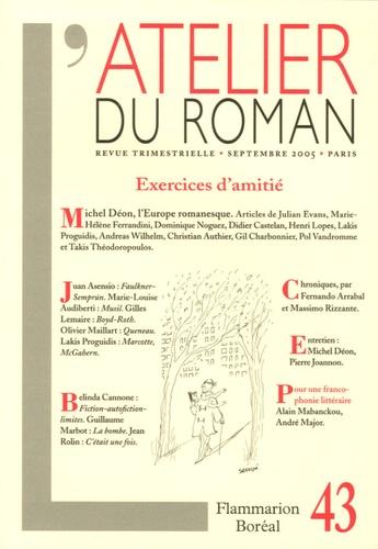 Juan Asensio et Marie-Louise Audiberti - L'atelier du roman N° 43, septembre 200 : Exercices d'amitié - Le pirate.
