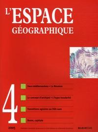 Vincent Clément et Pierre Carrega - L'espace géographique Tome 34 N° 4, 2005 : .