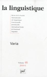 Paul Richard Rastall et Ales Bican - La linguistique N° 46, 2010-1 : Varia.