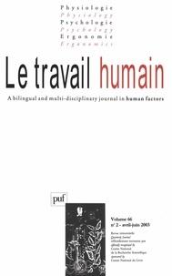 Puf - Le travail humain Volume 66 N° 2 avril : .