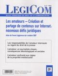 Jean-Marie Charon - Legicom N° 41 - 2008/1 : Les amateurs - Création et partage de contenus sur Internet : nouveaux défis juridiques - Actes du forum Légipresse du 4 octobre 2007.