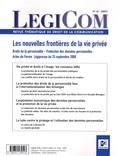 Claude Weill - Legicom N° 43 : Les nouvelles frontières de la vie privée - Droits de la personnalité, Protecion des données personnelles.