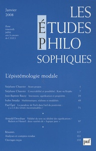 Stéphane Chauvier et Jean-Baptiste Rauzy - Les études philosophiques N° 1, Janvier 2008 : L'épistémologie modale.
