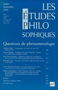 Renaud Barbaras et  Collectif - Les études philosophiques N° 3, Juillet-septem : Questions de phénoménologie.