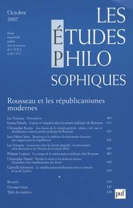 Luc Foisneau et Jean-Fabien Spitz - Les études philosophiques N° 4, Octobre 2007 : Rousseau et les républicanismes modernes.