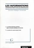 CIG petite couronne - Les informations administratives et juridiques N° 10, Octobre 2004 : Le comité technique paritaire dans la fonction publique territoriale.