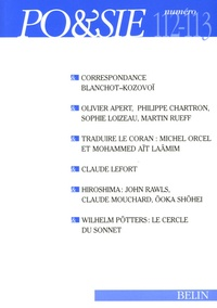 Claude Lefort et Olivier Apert - Po&sie N° 112-113 : Correspondance Maurice Blanchot - Vadim Kozovoï.