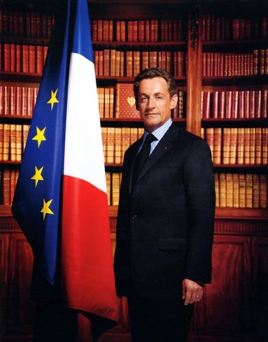 Philippe Warrin - Portrait officiel de M. Nicolas Sarkozy, président de la République française - Affiche 24x30.