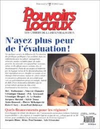 Jean-Marc Ohnet et Jacques Caillosse - Pouvoirs locaux N° 57, Juin 2003 : N'ayez plus peur de l'évaluation !.
