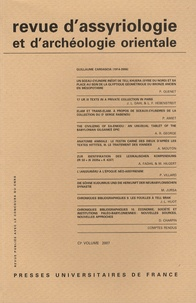 Jacob L. Dahl et Philippe Quenet - Revue d'assyriologie et d'archéologie orientale N° 101/2007 : .