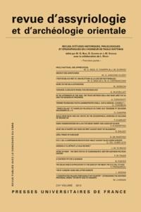 G. Biga et Dominique Charpin - Revue d'assyriologie et d'archéologie orientale N° 106/2012 : Recueil d'études historiques, philologiques et épigraphiques en l'honneur de Paolo Matthiae - Première partie.