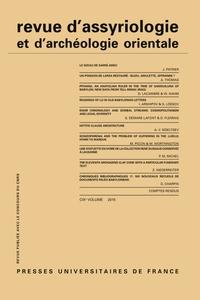 Dominique Charpin - Revue d'assyriologie et d'archéologie orientale N° 109/2015 : .