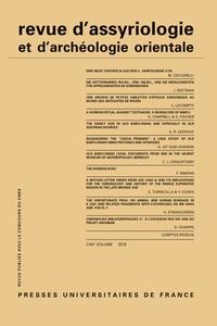 Dominique Charpin - Revue d'assyriologie et d'archéologie orientale N° 112/2018 : .