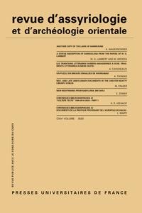 Dominique Charpin - Revue d'assyriologie et d'archéologie orientale N° 114/2020 : .
